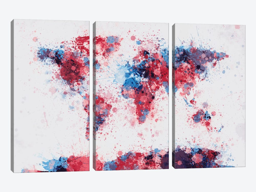World Map Paint Drops V by Michael Tompsett 3-piece Canvas Print