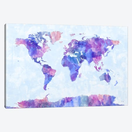 Map of The World Paint Splashes V Canvas Print #8972} by Michael Tompsett Canvas Wall Art