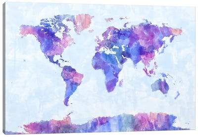 Map of The World Paint Splashes V Canvas Art Print