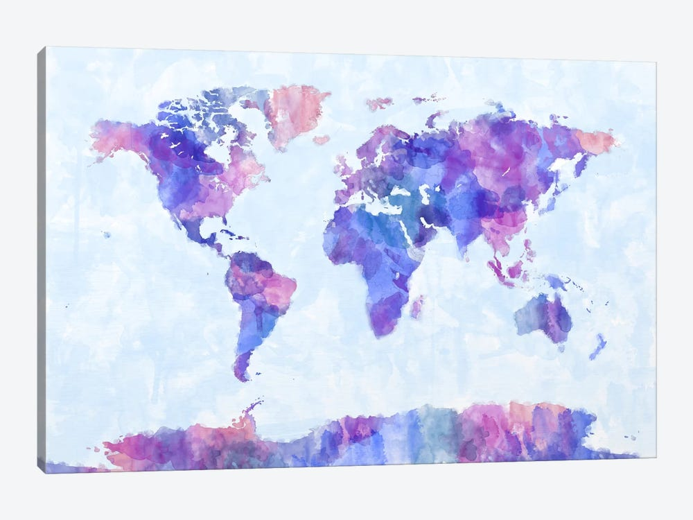 Map of The World Paint Splashes V by Michael Tompsett 1-piece Canvas Art