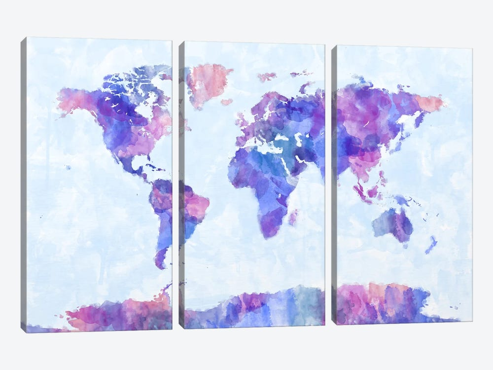 Map of The World Paint Splashes V by Michael Tompsett 3-piece Canvas Wall Art