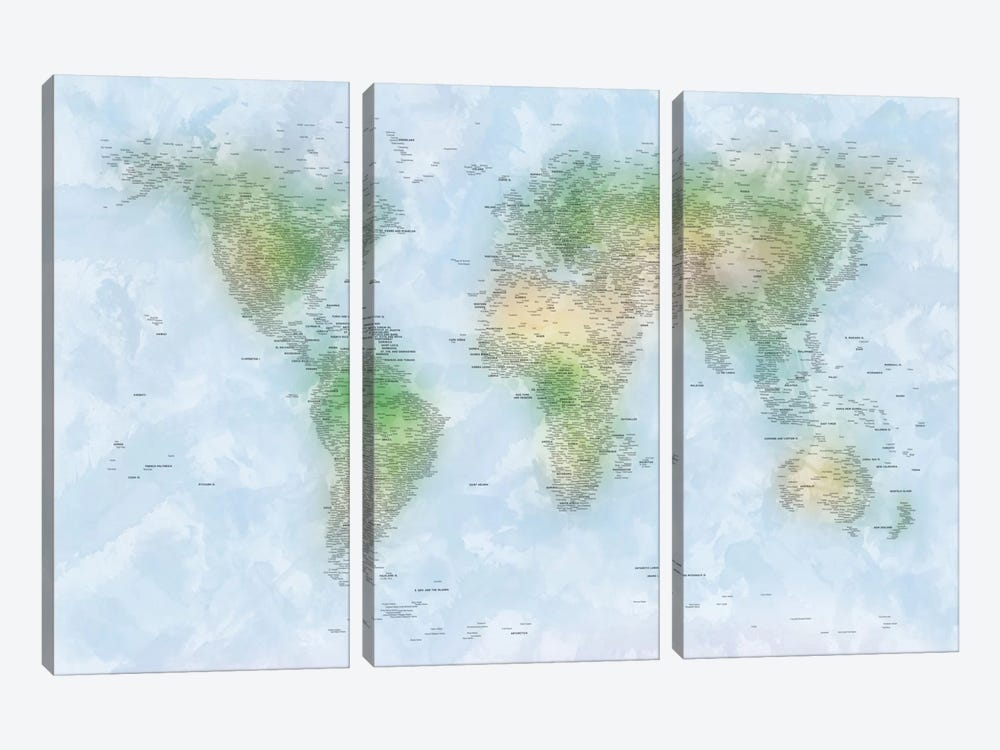 World Map VI by Michael Tompsett 3-piece Art Print