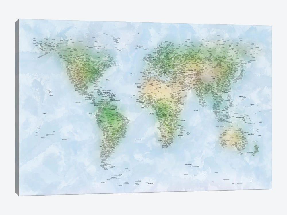 World Map VI by Michael Tompsett 1-piece Canvas Art Print