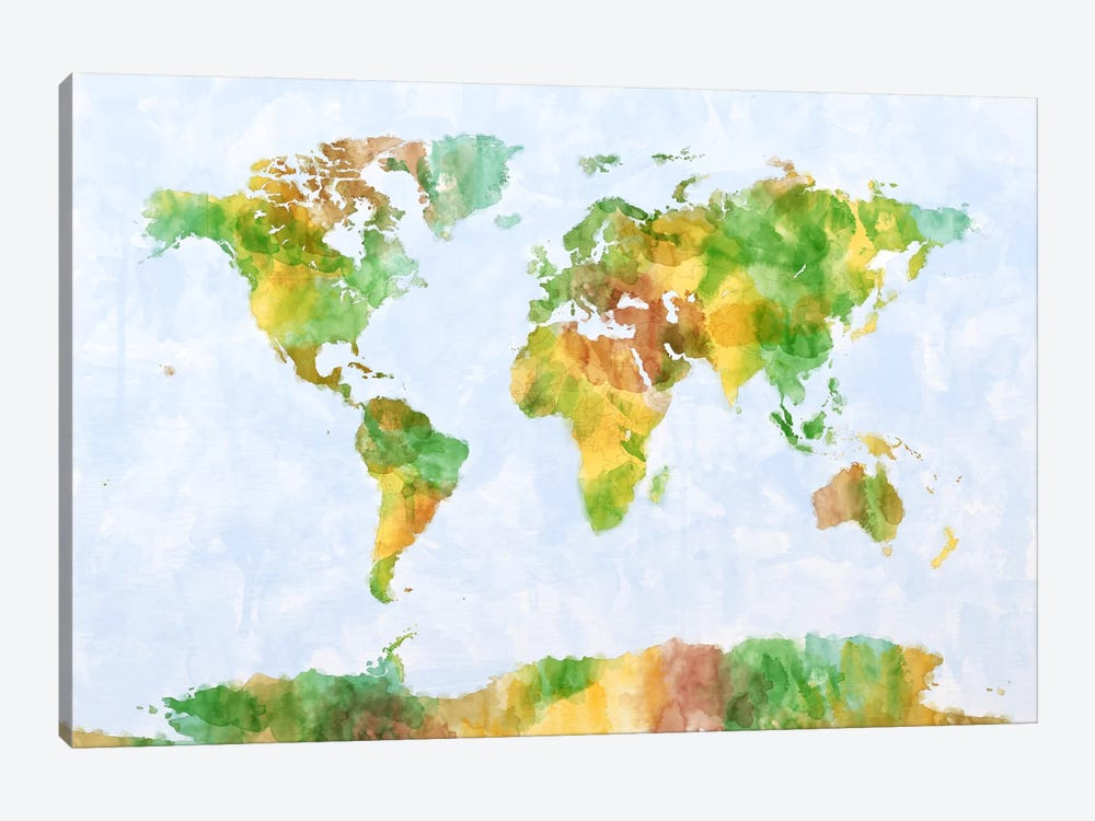 World Map (Green) by Michael Tompsett 1-piece Canvas Artwork