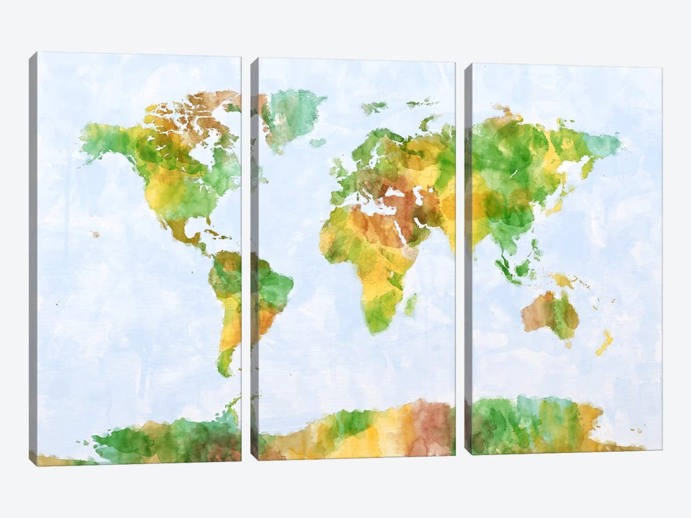 World Map (Green) by Michael Tompsett 3-piece Canvas Art