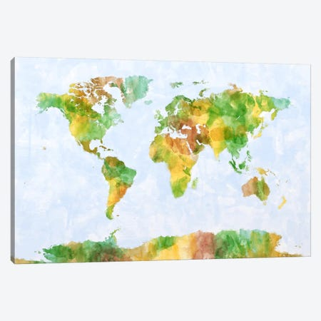 World Map (Green) Canvas Print #8974} by Michael Tompsett Canvas Art Print