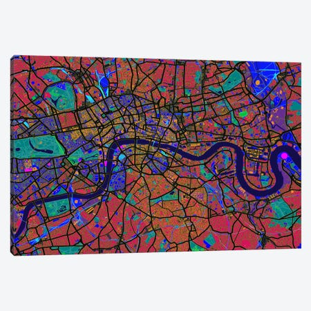 London Map (Abstract) V Canvas Print #8975} by Michael Tompsett Art Print