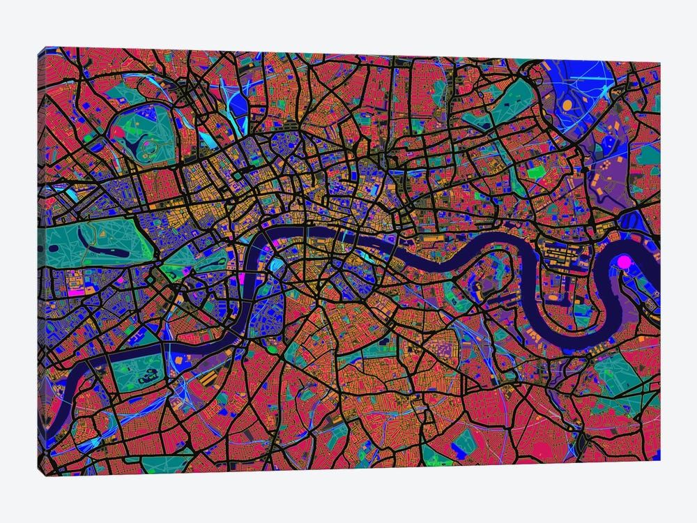 London Map (Abstract) V by Michael Tompsett 1-piece Canvas Print