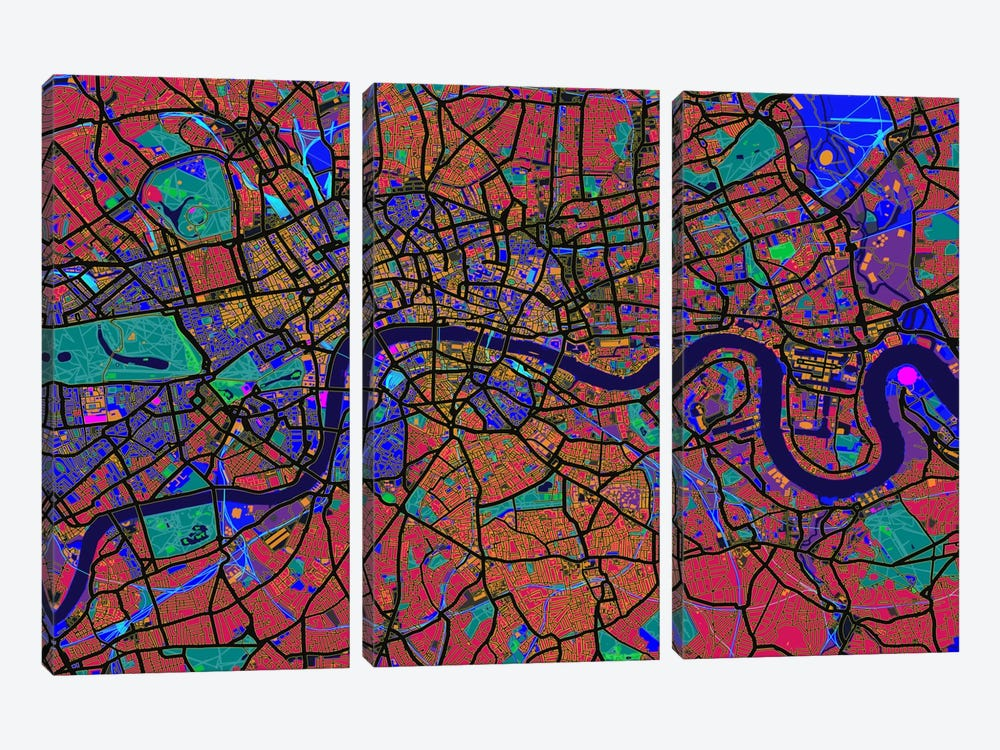 London Map (Abstract) V by Michael Tompsett 3-piece Art Print