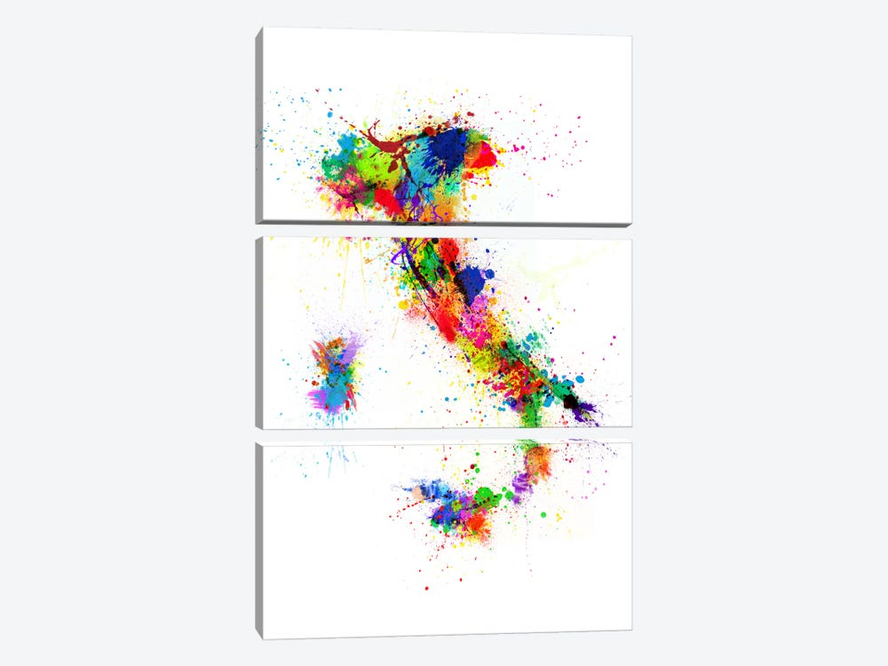 Map of Italy Paint Splashes II 3-piece Canvas Art