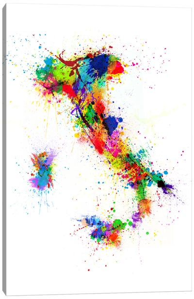 Map of Italy Paint Splashes II Canvas Art Print