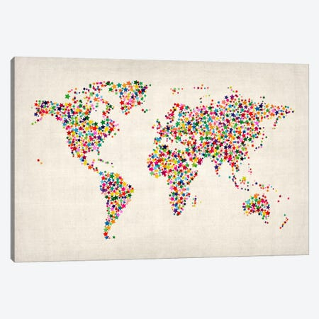 Stars World Map Canvas Print #8977} by Michael Tompsett Canvas Art Print