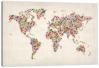 Stars World Map Canvas Print #8977