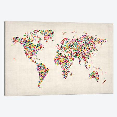 Stars World Map Canvas Print #8977} by Michael Tompsett Canvas Art Print