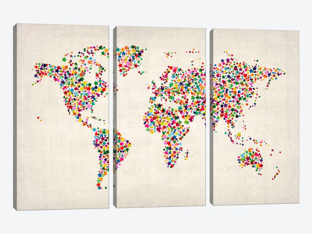 Stars World Map by Michael Tompsett 3-piece Art Print