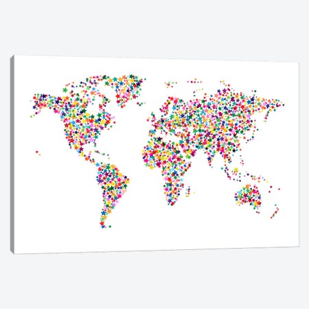 Stars World Map II Canvas Print #8978} by Michael Tompsett Canvas Artwork