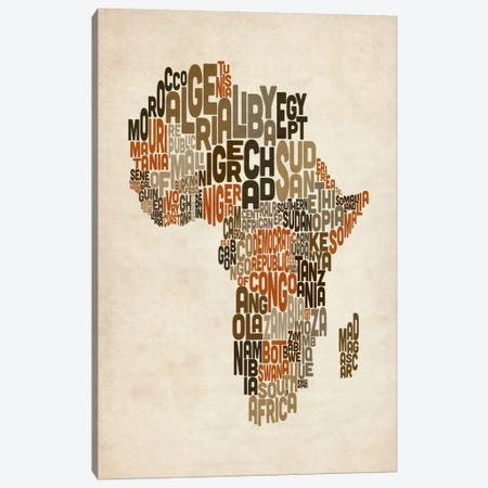 Typography (Countries) Map of Africa Canvas Print #8979} by Michael Tompsett Canvas Art