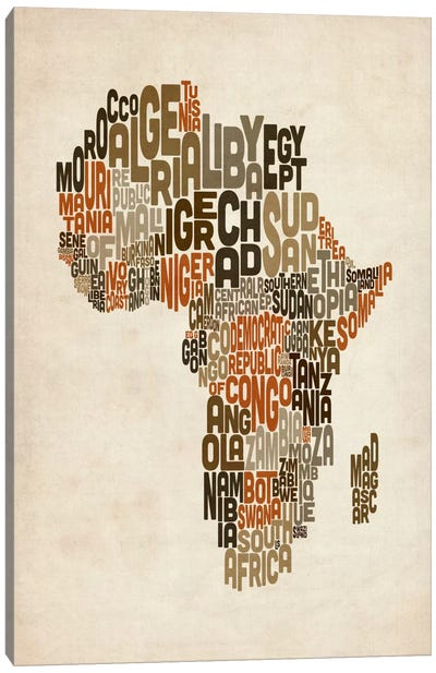 Typography (Countries) Map of Africa Canvas Print #8979