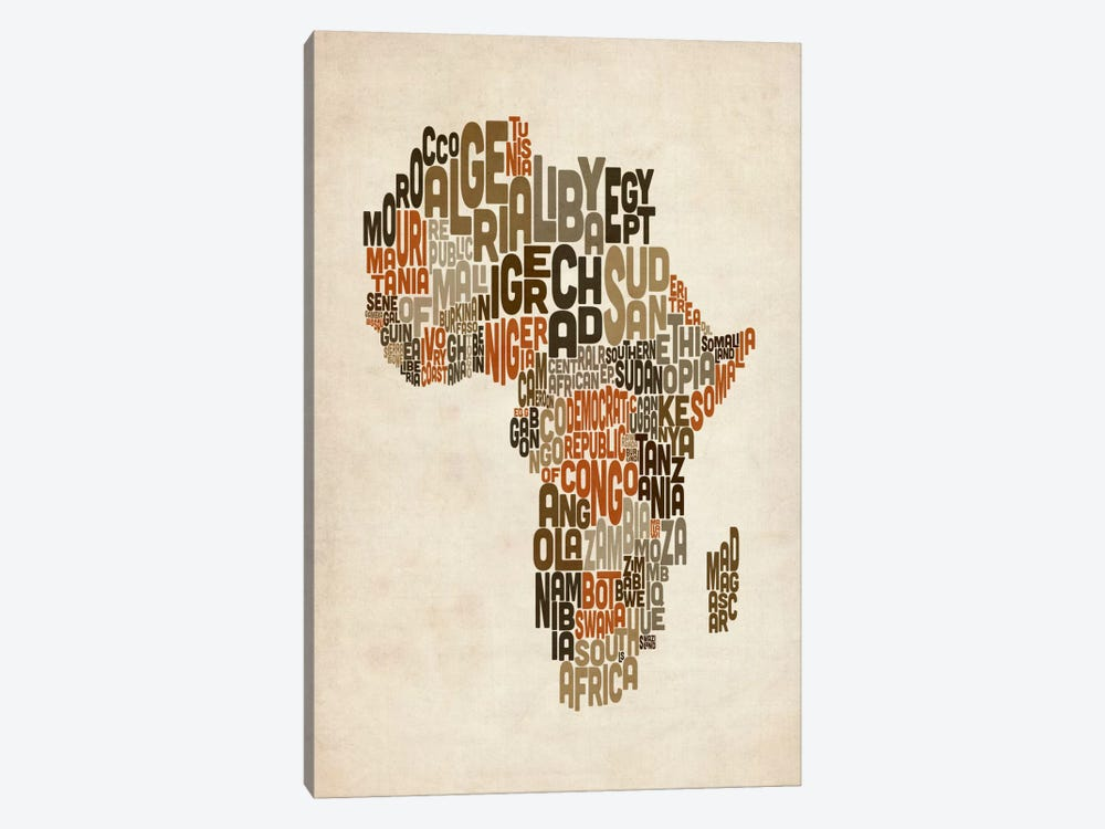 Typography (Countries) Map of Africa by Michael Tompsett 1-piece Art Print