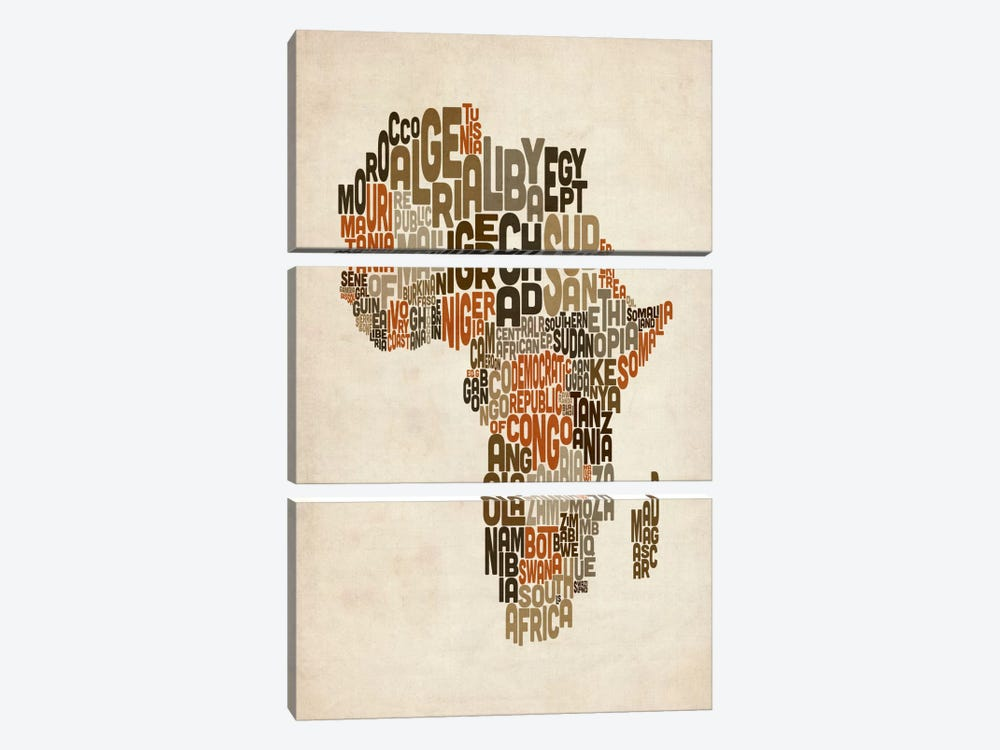 Typography (Countries) Map of Africa by Michael Tompsett 3-piece Art Print