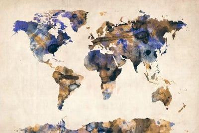 Urban Watercolor World Map.Urban Watercolor World Map V Canvas Art By Michael Tompsett Icanvas