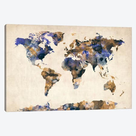 Urban Watercolor World Map V Canvas Print #8980} by Michael Tompsett Art Print