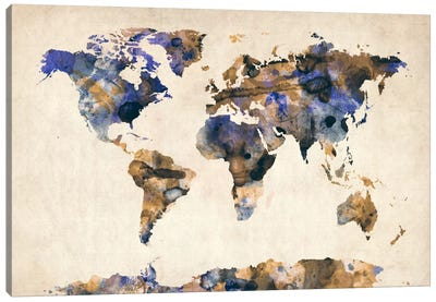 Urban Watercolor World Map V Canvas Print #8980