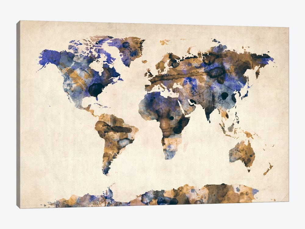 Urban Watercolor World Map V by Michael Tompsett 1-piece Canvas Print