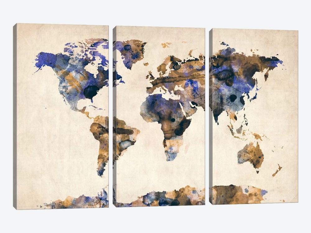 Urban Watercolor World Map V by Michael Tompsett 3-piece Canvas Art Print