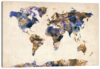 Urban Watercolor World Map V Canvas Art Print