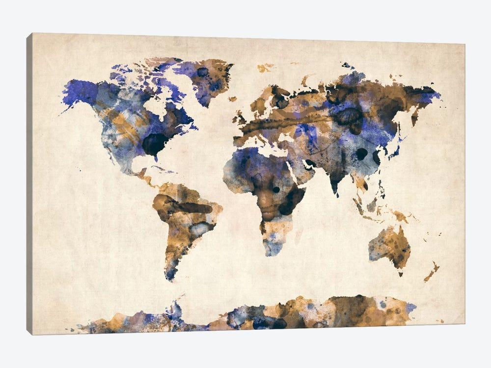 Urban Watercolor World Map V by Michael Tompsett 1-piece Canvas Print