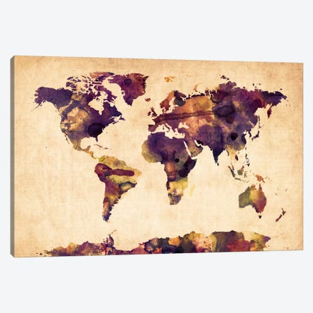 Urban Watercolor World Map VI Canvas Print #8981} by Michael Tompsett Canvas Print