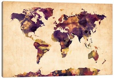 Urban Watercolor World Map VI Canvas Print #8981