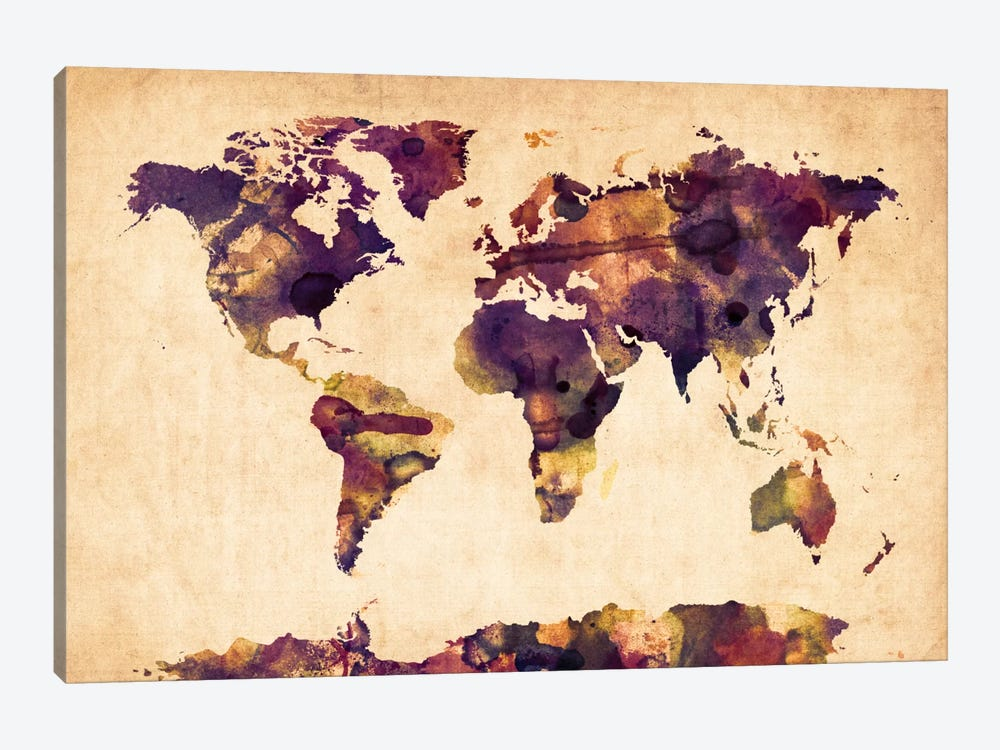 Urban Watercolor World Map VI by Michael Tompsett 1-piece Canvas Wall Art
