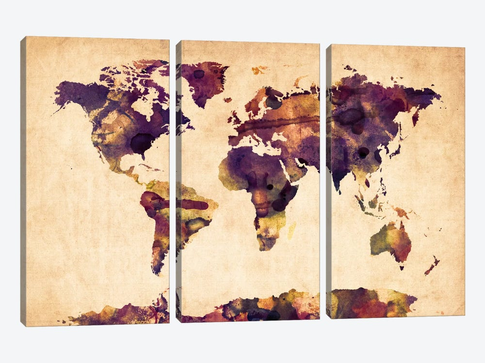 Urban Watercolor World Map VI by Michael Tompsett 3-piece Canvas Artwork