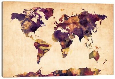 Urban Watercolor World Map VI Canvas Art Print