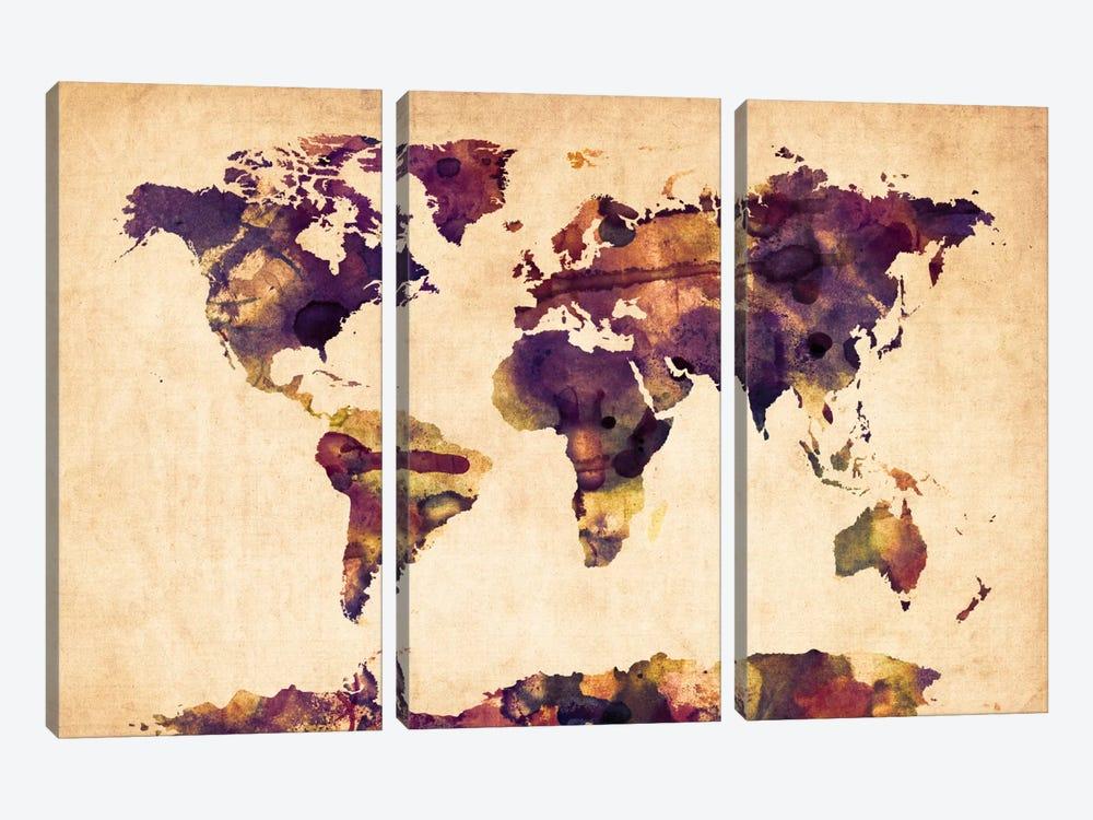 Urban Watercolor World Map VI by Michael Tompsett 3-piece Canvas Artwork