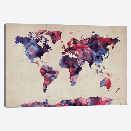 Urban Watercolor World Map VII Canvas Print #8982} by Michael Tompsett Art Print