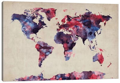 Urban Watercolor World Map VII Canvas Print #8982