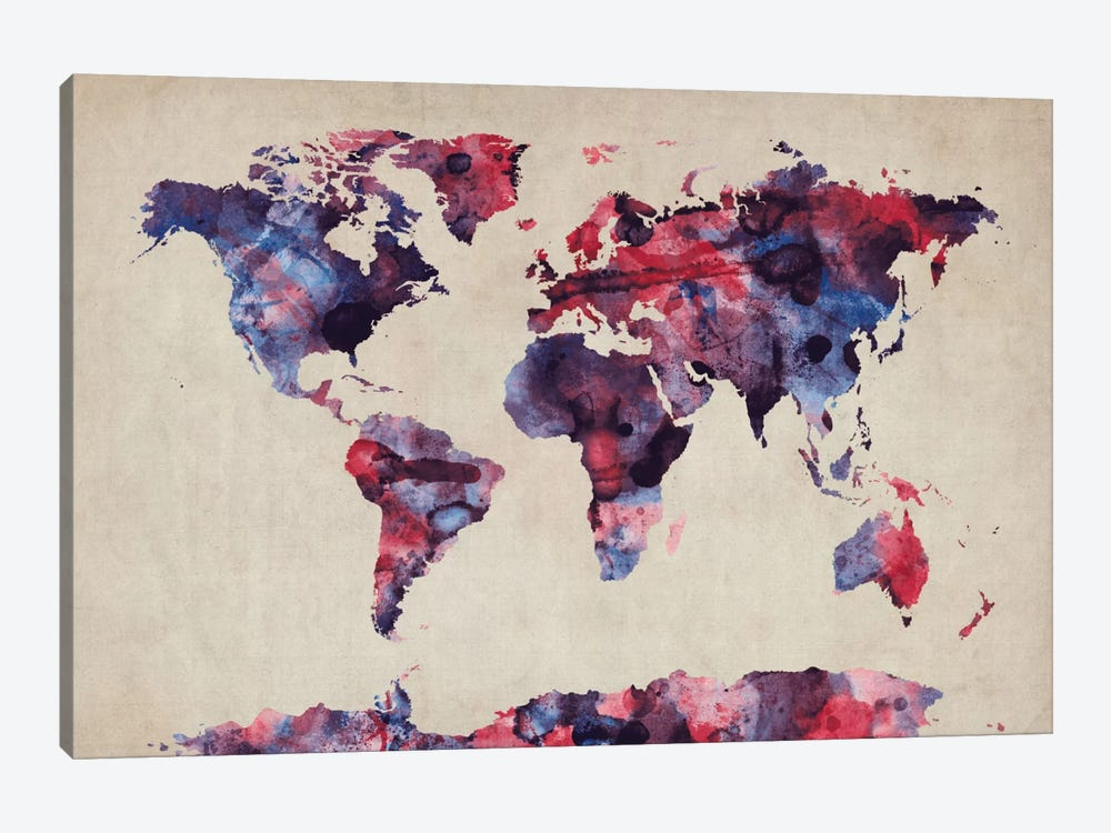 Urban Watercolor World Map VII by Michael Tompsett 1-piece Canvas Art Print