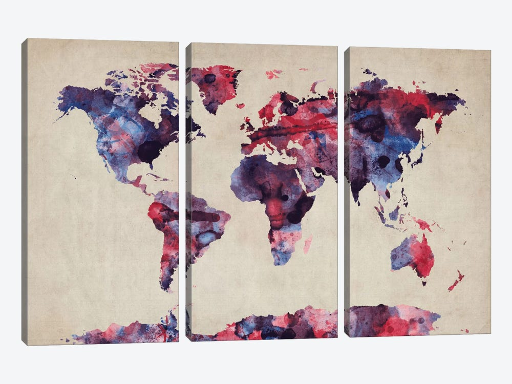 Urban Watercolor World Map VII by Michael Tompsett 3-piece Canvas Art Print