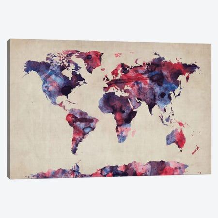 Urban Watercolor World Map VII Canvas Print #8982} by Michael Tompsett Art Print