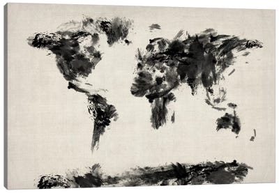 Map of The World Paint Splashes (Black) Canvas Art Print