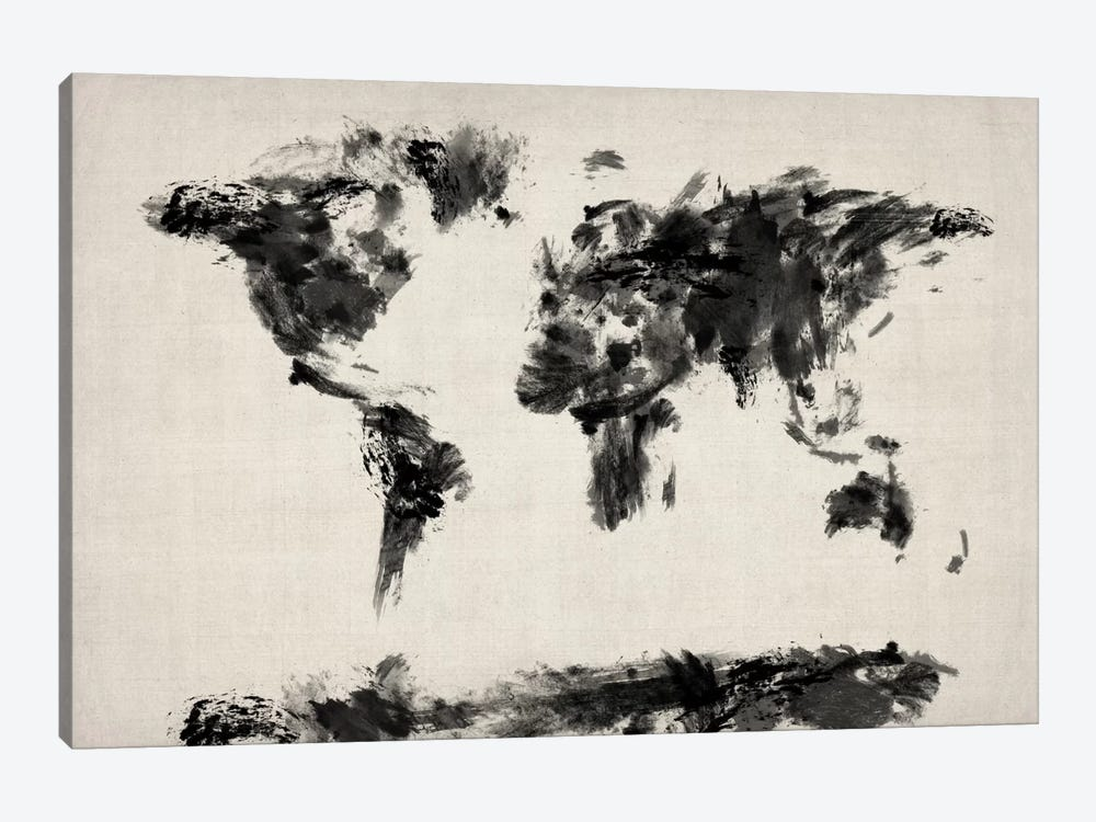 Map of The World Paint Splashes (Black) by Michael Tompsett 1-piece Canvas Wall Art