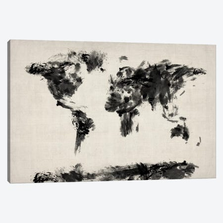Map of The World Paint Splashes (Black) Canvas Print #8983} by Michael Tompsett Canvas Print
