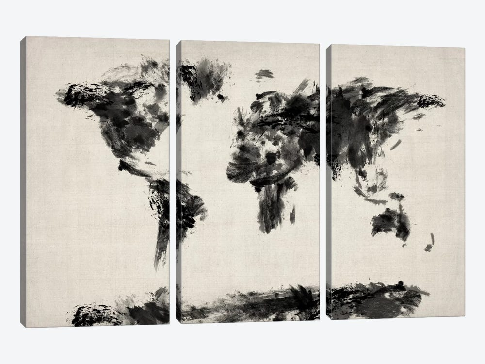 Map of The World Paint Splashes (Black) by Michael Tompsett 3-piece Canvas Art