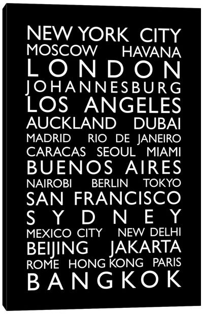 World Cities Bus Roll by Michael Tompsett Canvas Art
