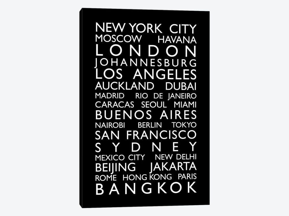 World Cities Bus Roll by Michael Tompsett 1-piece Canvas Art Print