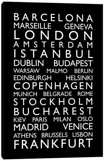 World Cities Bus Roll II Canvas Art Print