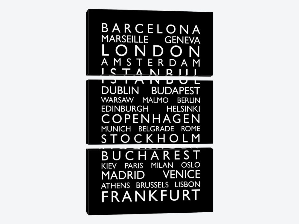 World Cities Bus Roll II 3-piece Canvas Art